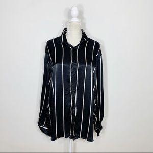 ZARA striped button up satin blouse